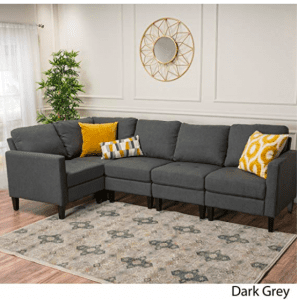 Carolina Dark Grey Fabric Sectional Couch