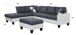 Classic Two Tone Large Linen Fabric and Bonded Leather Living Room Sectional Sofa (White:Dark Grey)