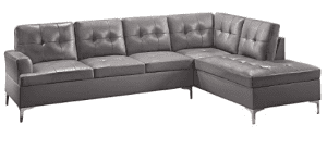 Homelegance Barrington 109 Faux Leather Upholstered Sectional Sofa with Chaise, Gray