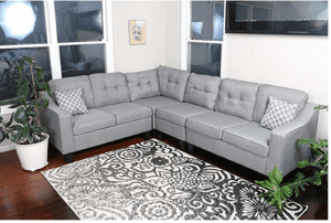 """Oliver Smith - Large Light Grey Linen Cloth Modern Contemporary Upholstered Quality Sectional Left or Right Adjustable Sectional 106"""" x 82.5"""" x 34"""""""