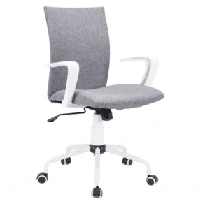 Grey Computer Desk Chair Comfort White Swivel Fabric Home Office Task Chair