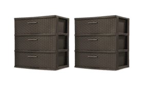Sterilite 25306P01 3-Drawer Wide Weave Tower, Espresso Frame & Drawers w Driftwood Handles, 2-Pack