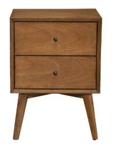 Alpine Furniture Mid Century Modern 2 Drawer Nightstand