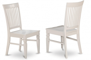 East West Furniture Wood Seat Dining Chair, Set of 2 - Linen White Finish