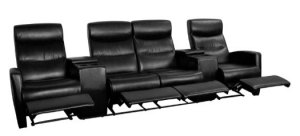 Flash Furniture 4-Seat Reclining Black Leather Theater Seating