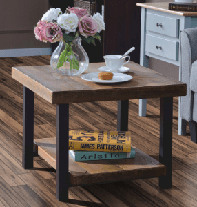 Harper&Bright Designs Easy Assembly Hillside Rustic Natural Coffee Table with Storage Shelf for Living Room