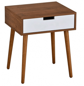 Light Walnut-White Side Nightstand