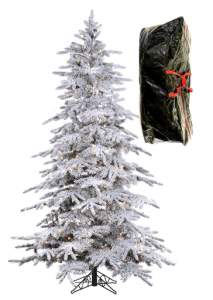 PRE LIT FLOCKED BAVARIAN PINE, Artificial White Christmas Tree