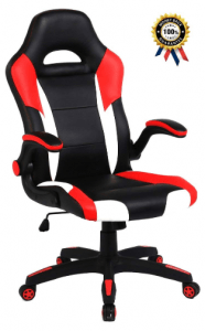 SEATZONE Racing Car Style Bucket Seat Gaming Chair, Curved High-Back Executive Swivel Office Leather Chair, Adjustable Computer Chair with Flip-Up Armrest...