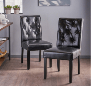 Waldon Black Leather Dining Chairs, Set of 2 - Best Black Leather Dining Chair