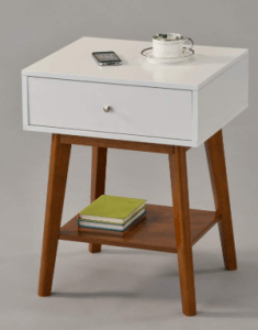 White Dark Oak Side End Table Nighstand