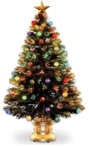 4' Pre-lit Potted Fiber Optic Artificial Christmas Tree