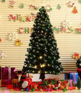 HomCom 6' Artificial Pre-Lit White LED Fiber Optics Christmas Tree