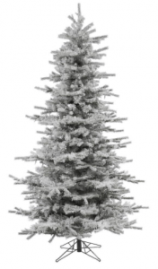 Vickerman Flocked Slim Sierra Flocked White Christmas Tree, 7.5-Feet